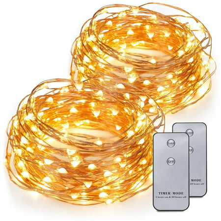 Kohree 2 Pack 120 LEDs Battery Operated String Light 20ft Copper Wire with Remote Control, Waterproof Design - Led Batteries