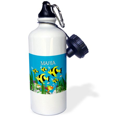 3dRose Colourful tropical plants and fish design personalized with a female name MARIA, Sports Water Bottle, 21oz