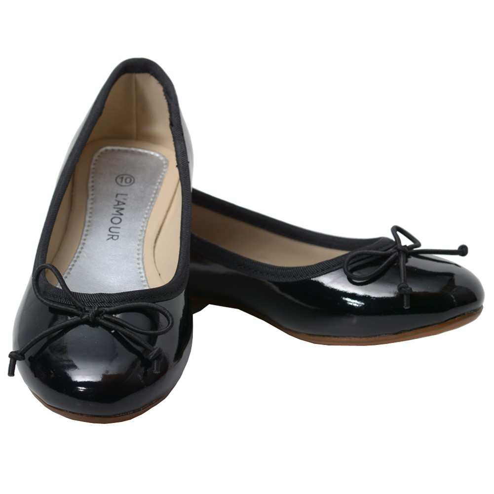 L'Amour Black Patent Slip On Bow Flat Dress Shoes Toddler Girls 7-10