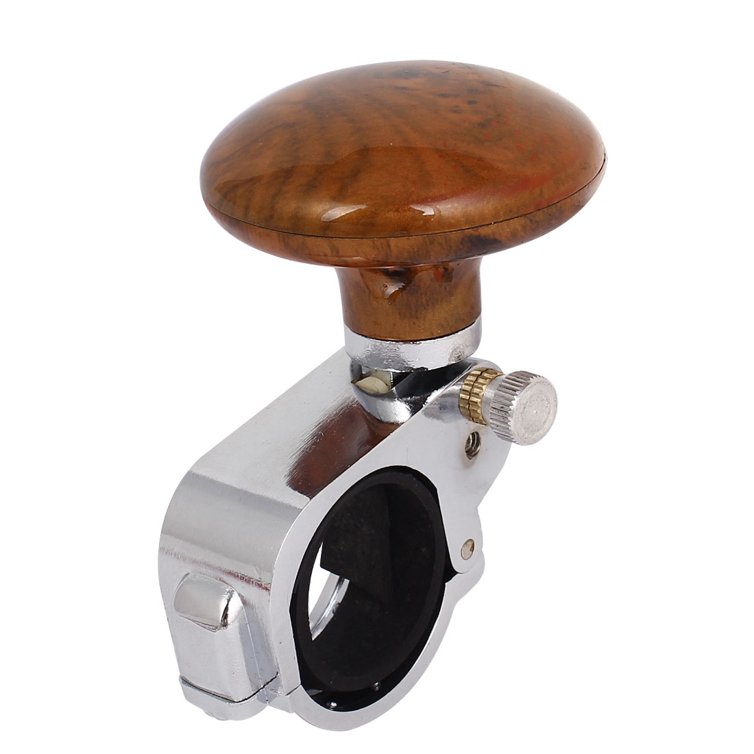"Auto Assist Round Power Handle Steering Wheel Knob 2.2"" Dia Silver Tone Brown"