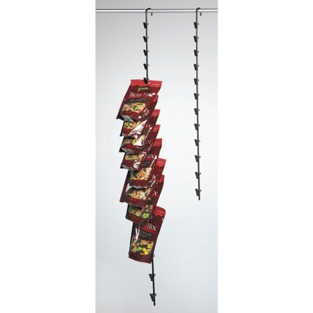 Hanging Potato Chip Rack with 12 Clips, Black Metal - 31
