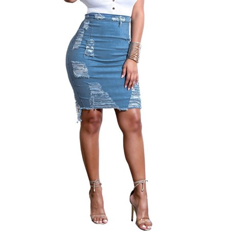 KABOER Women Stretch Pencil Skirt High Waist Hole Skirts Denim Jeans Short Mini