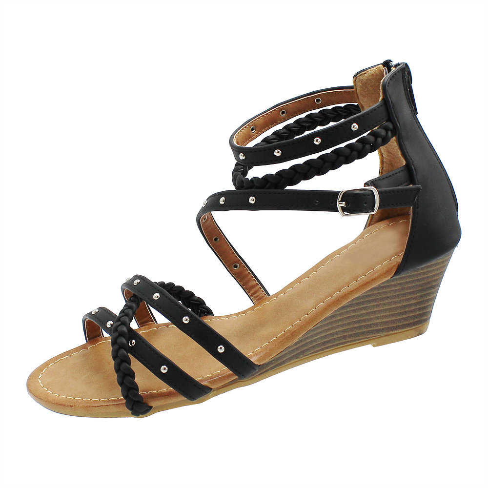 b6b728010e35 Lydia-10 Women s Open Toe Strappy Mid Wedge Heel Wood Decoration Buckle Shoes  Sandals Black 10