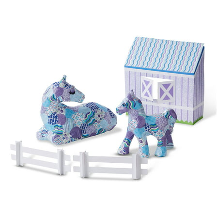 Melissa & Doug Decoupage Made Easy Horse & Pony Paper Mache Deluxe Craft Kit With (Easy Arts And Crafts For 3 Year Olds)