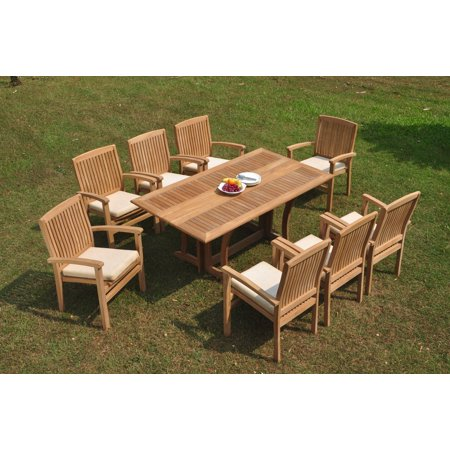 Grade-A Teak Dining Set: 8 Seater 9 Pc: Warwick Console Folding Rectangle Table And 8 Wave Stacking Arm Chairs Outdoor Patio WholesaleTeak (8 Seater Dining Table And Chairs Ikea)