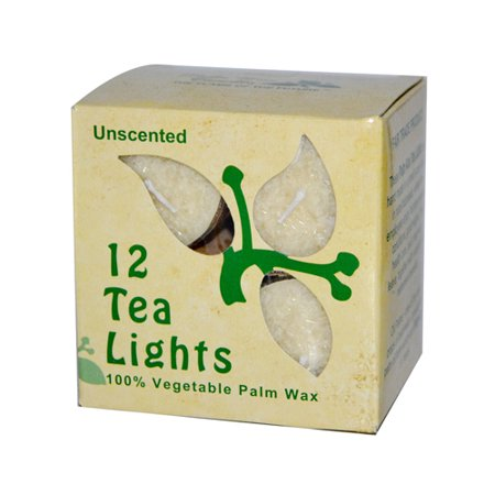 Aloha Bay - 100% Vegetable Palm Wax Tea Light Candles Unscented Cream - 12 -