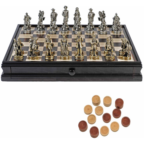 "Civil War Chess and Checkers Game Set, Pewter Chessmen and Wood Board with Storage Drawers, 15"" by Generic"