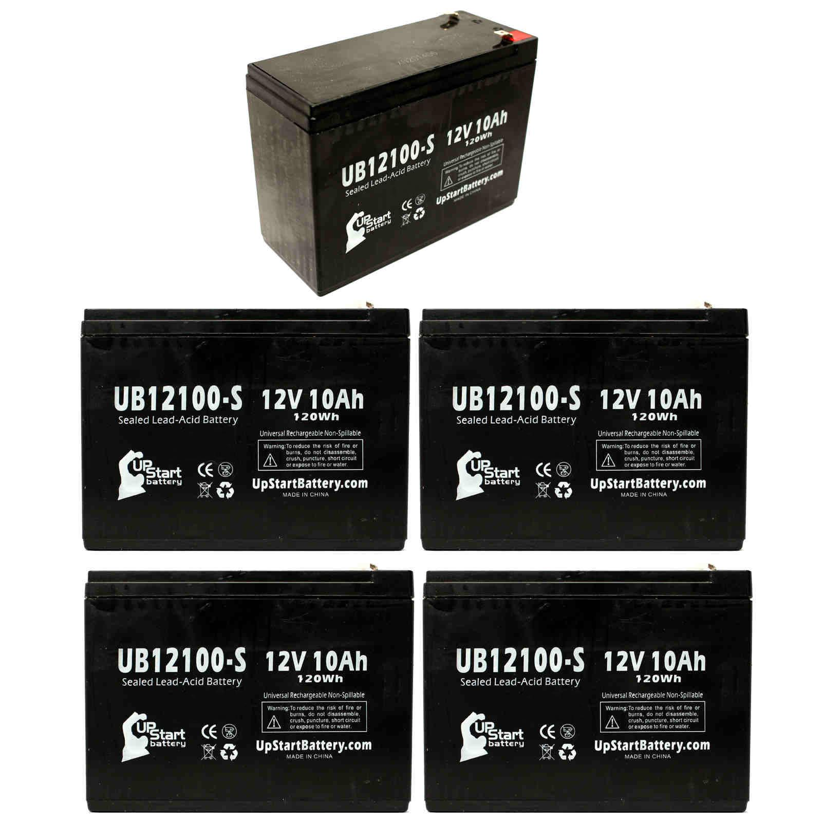 5-Pack UB12100-S Universal Sealed Lead Acid Battery (12V, 10Ah, F2 Terminal, AGM, SLA) Replacement - Compatible With Schwinn S500, S350, Missile FS, S180, S750, S600, Razor Rebellion Chopper - image 4 of 4