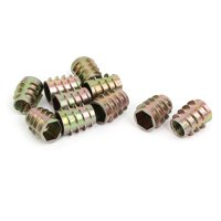 Unique Bargains M10x19mm Zinc Plated Hex Socket Screw in Thread Insert Nut 10pcs for Wood