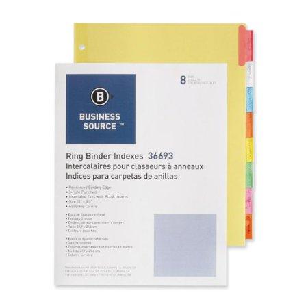 "Business Source Ring Binder Index Divider - Blank - 8.50"" X 11"" - 8 / Set - Multicolor Tab (BSN36693)"