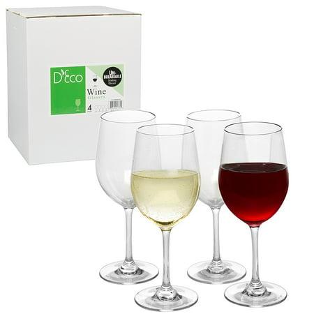 Unbreakable Wine Glasses - 100% Tritan - Shatterproof, Reusable, Dishwasher Safe (Set of 4) by (Aluminum Travel Wine Safe)