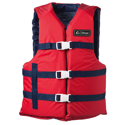 Onyx Universal Boating Adult Vest, Red, 2XL/4XL