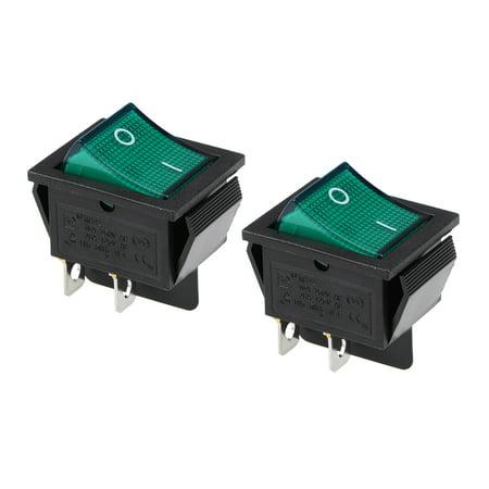 Boat Rocker Switch Green LED Light DC 12/24V Toggle Switch for Boat Car Marine ON/OFF AC 250V/16A  125V/20A,