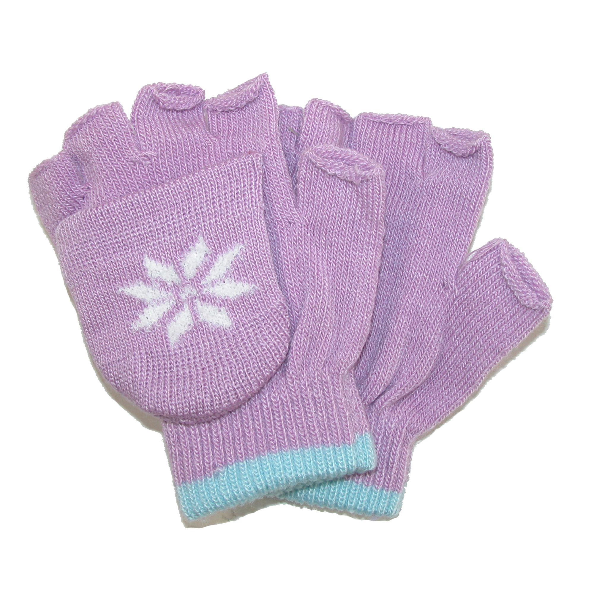 CTM®  Girls Stretch Convertible Fingerless Winter Mittens / Gloves