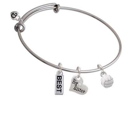 3-D White Volleyball Big Sister Heart Expandable Bangle Bracelet for $<!---->