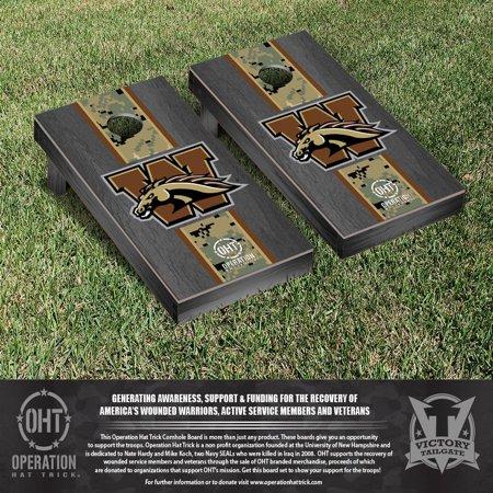 Operation Hat Trick Western Michigan WMU Broncos Cornhole Game Set Onyx Stained Stripe Version