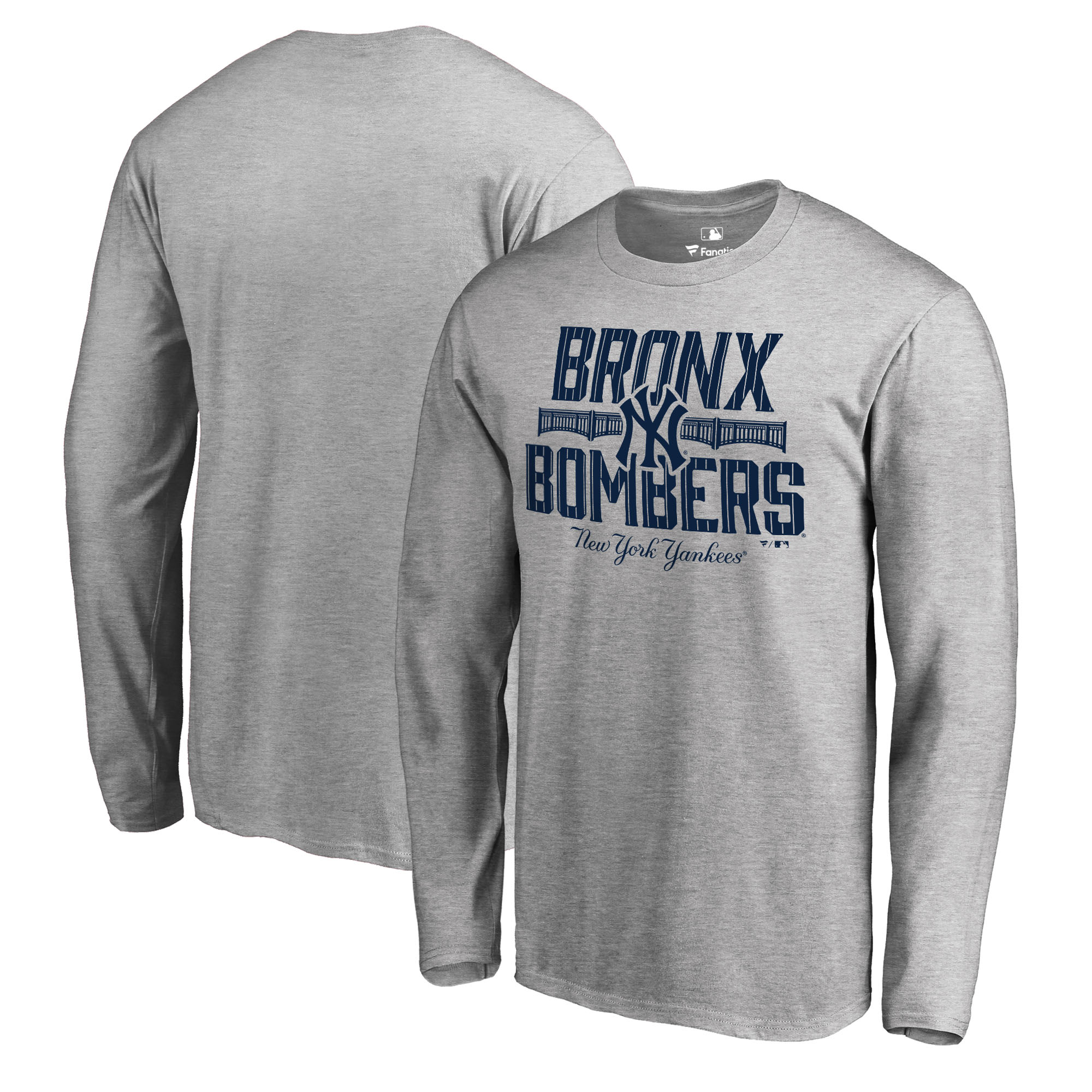 New York Yankees Fanatics Branded Big & Tall The Bombers Hometown Collection Long Sleeve T-Shirt - Heathered Gray
