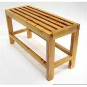 26 in. Solid Wood Slated Single Person Sitting Bench - Natural Wood