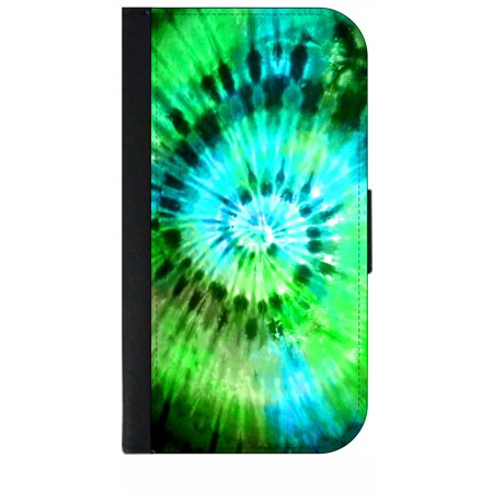 blue green tie dye wallet style phone case with 2 card slots