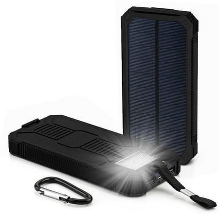 Tuscom 12000mAh LED Dual USB Ports Solar Panel Power Bank Case Charger...
