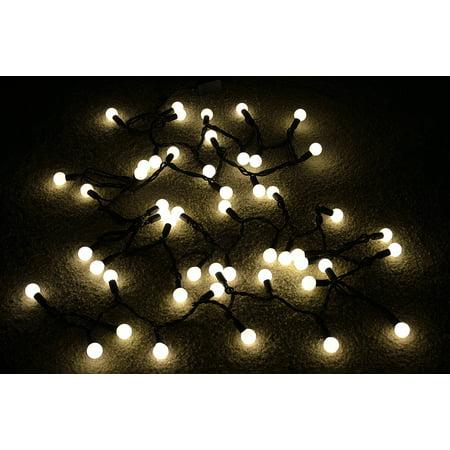 Fantado 50 Indoor/Dry Outdoor Warm White LED Globe Ball String Lights, 17FT Black Cord by PaperLanternStore](Globe Light)