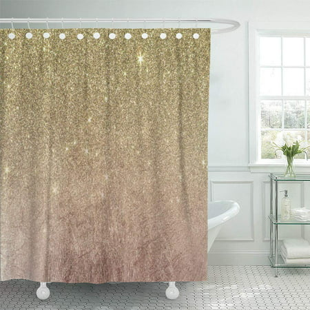 ATABIE Chic and Pink Rose Gold Mesh Girly Elegant Patterns Shower Curtain 66x72 inch
