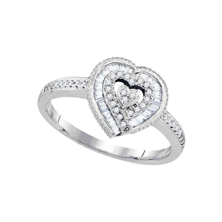 One Love Round Ring - 10kt White Gold Womens Round Diamond Heart Love Ring 1/4 Cttw