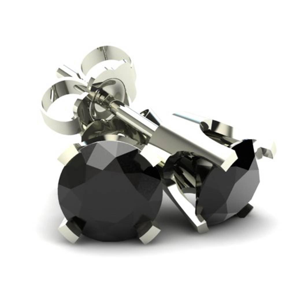 1.00Ct Round Brilliant Cut Heat Treated Black Diamond Stud Earrings 14K Gold - image 1 de 1