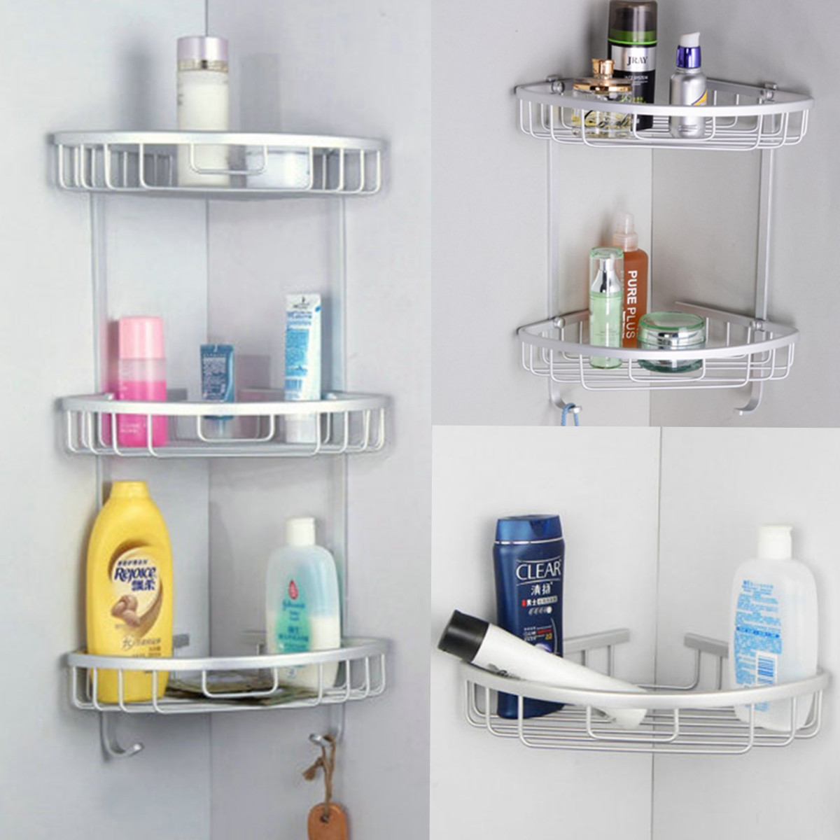Triangular Shower Caddy, 3 Layers Aluminum Bathroom Corner Rack ...