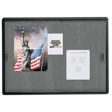 Quartet 2364S - Enclosed Bulletin Board, Fabric/Cork/Glass, 48 x 36, Gray, Aluminum Frame
