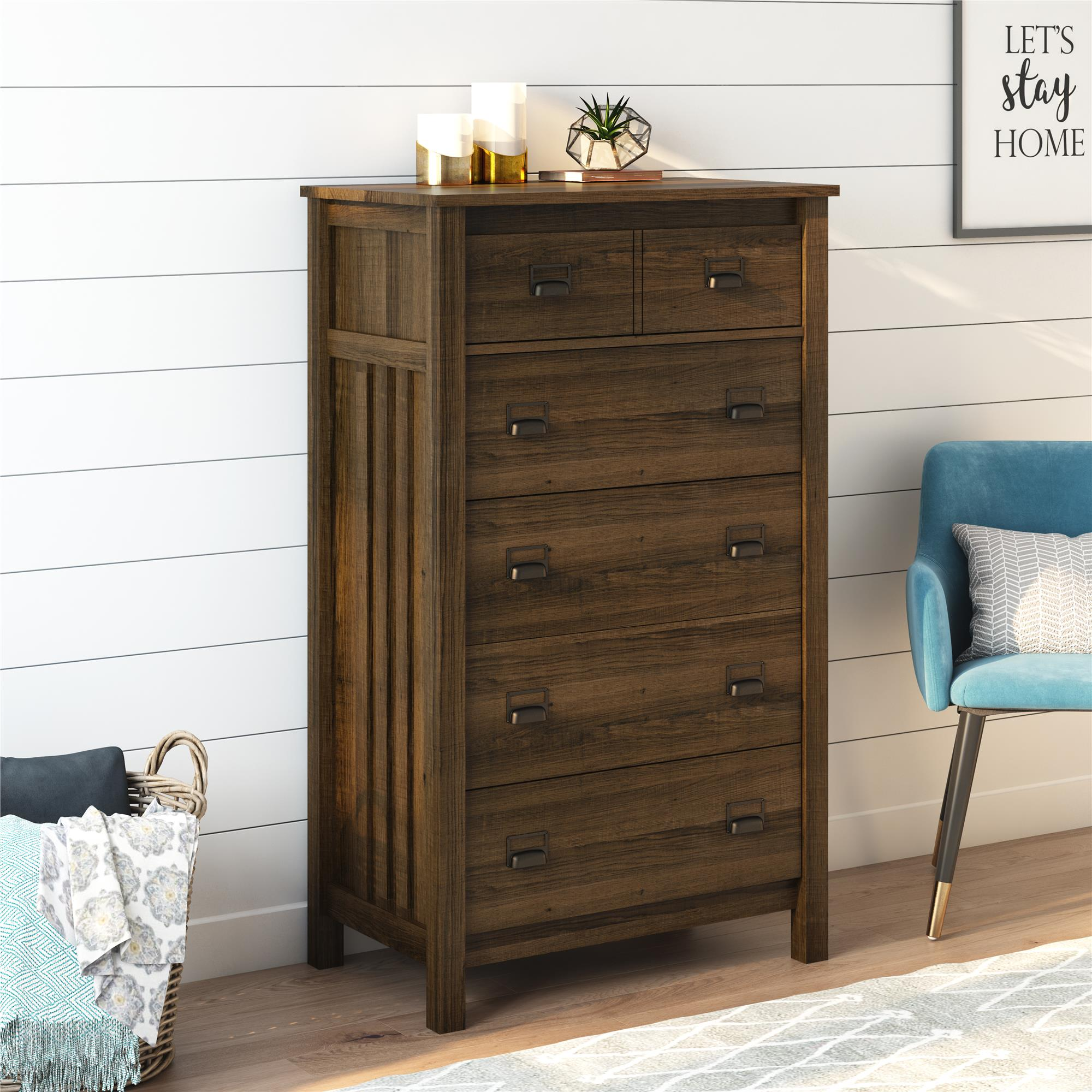 Better Homes Gardens Printer Pull 5 Drawer Dresser Homestead Oak