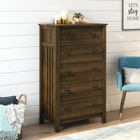 Better Homes & Garden Clarence 5 Drawer Dresser, Brown Oak Brown Five Drawer Chest