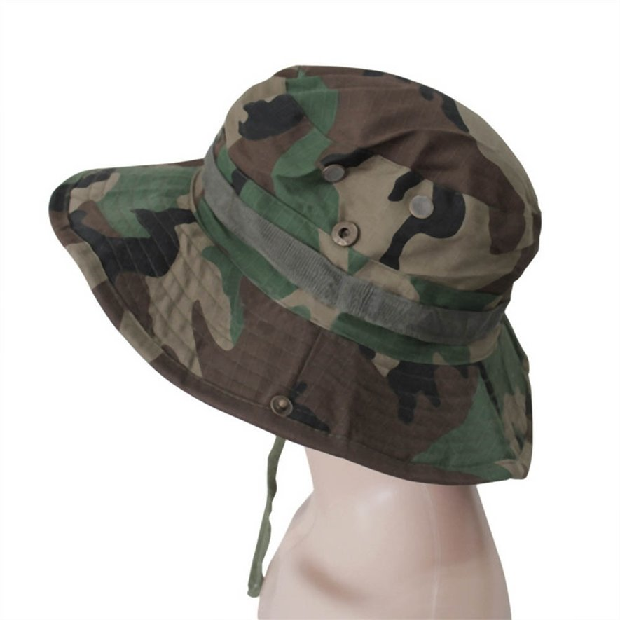 Fishing Hiking Boonie Snap Brim Military Bucket Sun Hat Cap Woodland Camo