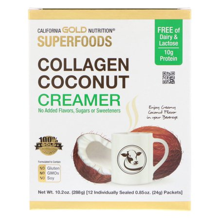 California Gold Nutrition  Superfoods  Collagen Coconut Creamer  Unsweetened  12 Packets 0 85 oz  24 g  - Gold Banded Ivory China Creamer