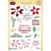"""JustRite Papercraft Clear Stamps 6""""X8""""-Multi-Step Poinsettia"""