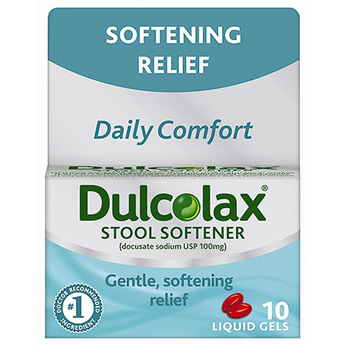 Dulcolax Stool Softener Liquid Gels 10ct, docusate sodium USP 100mg