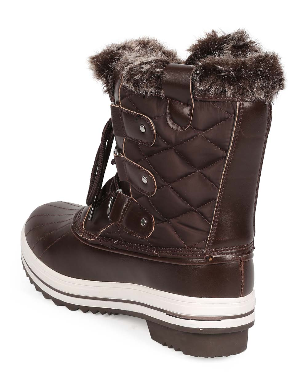 Refresh EB24 Women Mix Media Fur Lace Up Winter Duck Boot