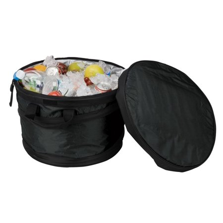 Expandable Cooler Tub - Black, • Made of 600D polyester • Fully insulated cooler tub with insulated lid to keep beverages cold • Attached bottle opener • Folds down flat for easy storage • Prop (Round Barrel Beverage Cooler Replacement Dome Lid)