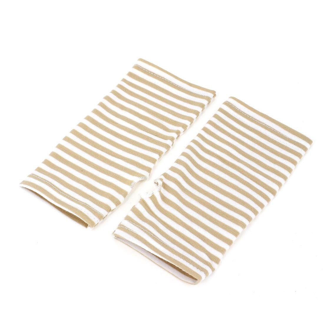 Women Stripe Pattern Fingerless Design Fall Wear Arm Warmers Gloves Pair Khaki