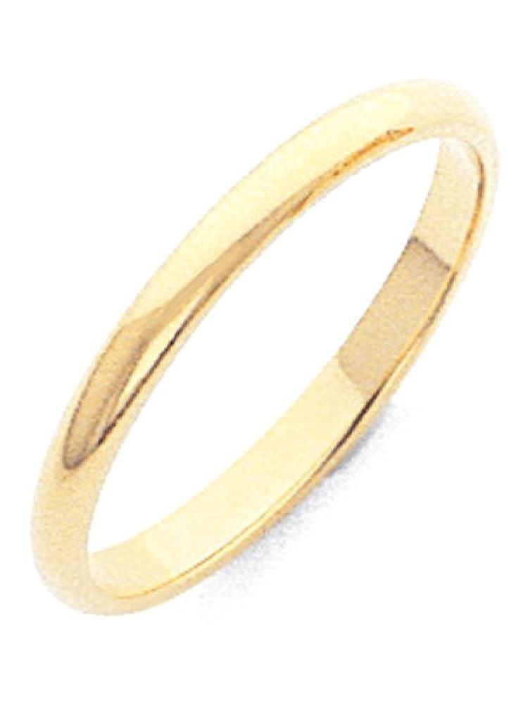 Jewel Tie 10k Yellow Gold 2mm Half Round Wedding Band