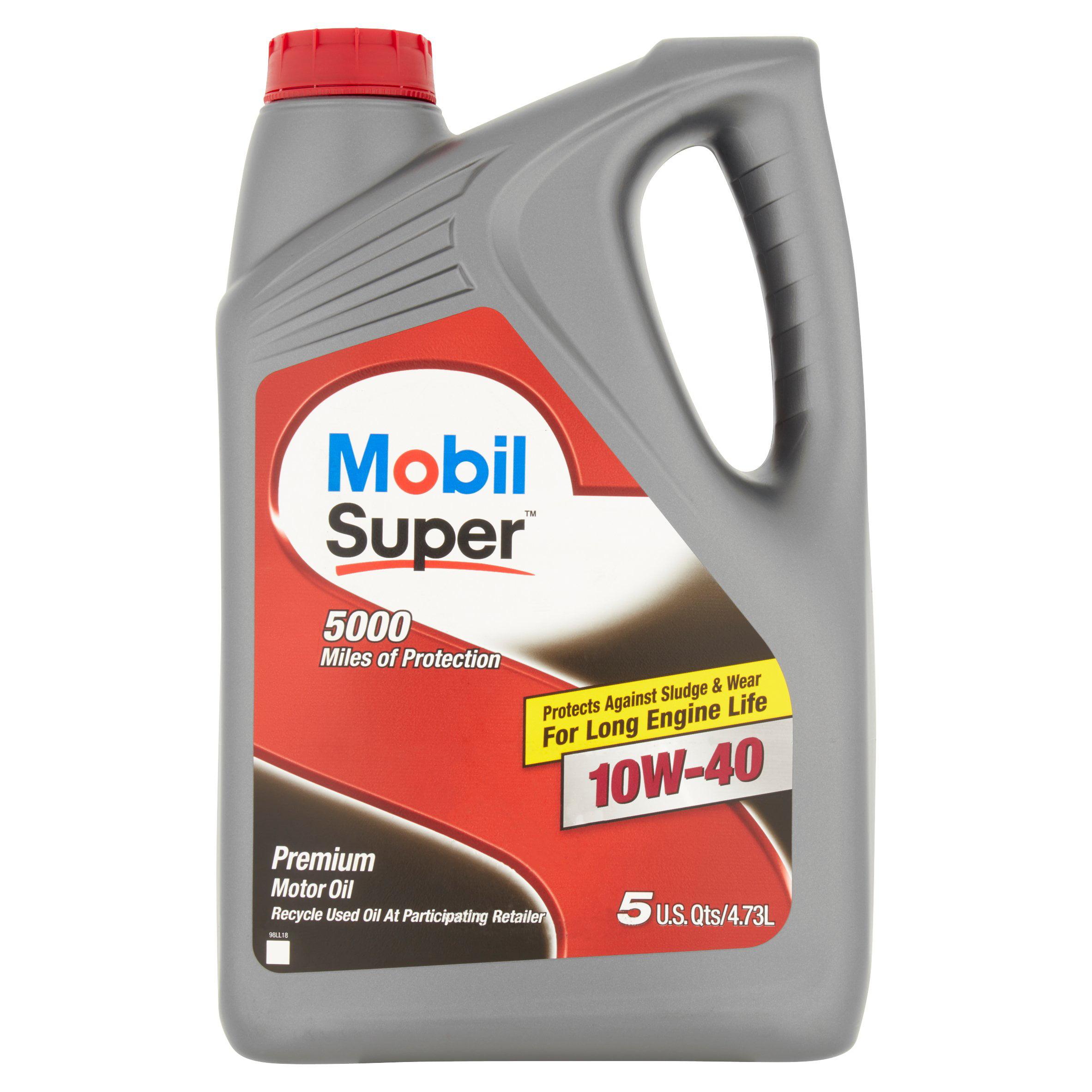 Mobil Super Premium 10W-40 Motor Oil, 5 qts