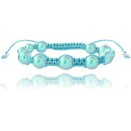 7.5-8mm Light Blue Freshwater Cultured Pearls Adjustable Bracelet 7.5""