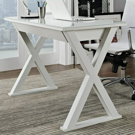 - Kingfisher Lane Glass Top Writing Desk in White