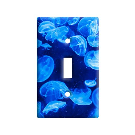 Fish Switchplate Cover - Jellyfish - Blue Jelly Fish Ocean Underwater Light Switch Plate Cover
