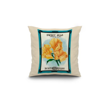 Sweet Peas spencer buff Seed Packet 18x18 Spun Polyester Pillow White