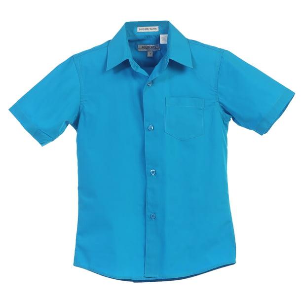 Boys Sky Blue Collared Button Down Cotton Blend School Formal Shortsleeve Shirt