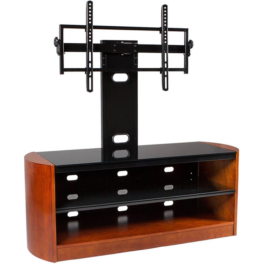 "Kanto MIRAGE 50 Plus TV Stand with Tilt and Swivel Mount for Displays up to 80"", Chestnut"