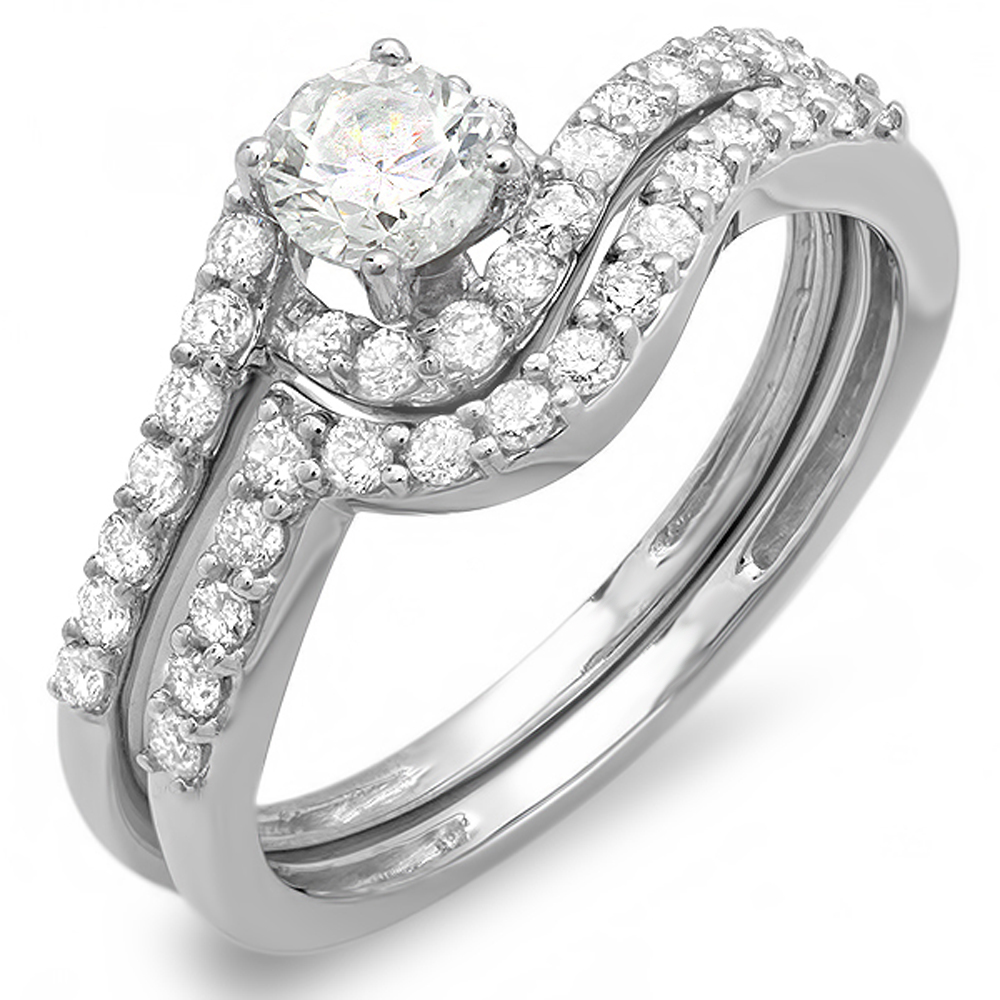 0.85 Carat (ctw) 14k White Gold Round Diamond Ladies Swirl Bridal Ring Engagement Matching Band Set