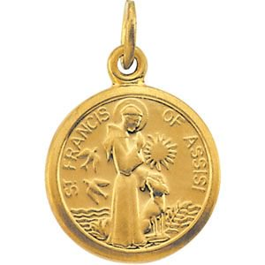 14kt Yellow 10.15x12mm St. Francis of Assisi Medal R41361 / 14Kt Yellow / 10.15X12.00 Mm / Polished / St. Francis Of Assisi - St Francis Crucifix