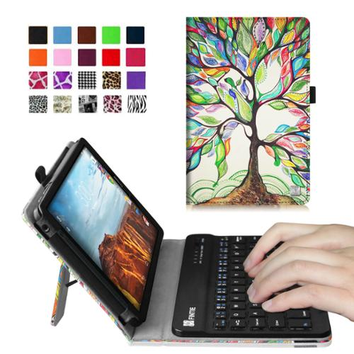 Verizon Ellipsis 8 4G LTE Tablet Keyboard Case - Fintie Slim Fit PU Leather Cover with Removable Keyboard, Love Tree